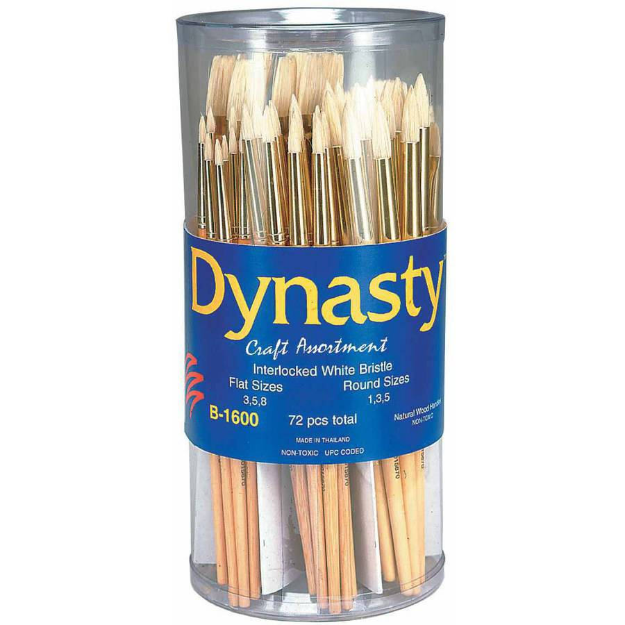 Dynasty B-1600 Cylinder Craft Interlocked White Bristle Short Handle Paint Brush Assortment, Assorted Size, Pack of 72