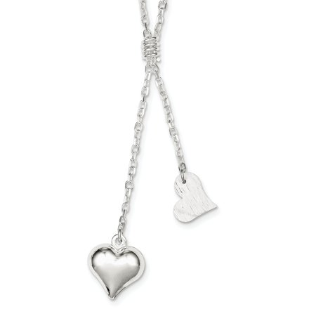 Fancy Puffed Heart - 925 Sterling Silver Polished & Textured Puffed Heart Fancy Drop Necklace