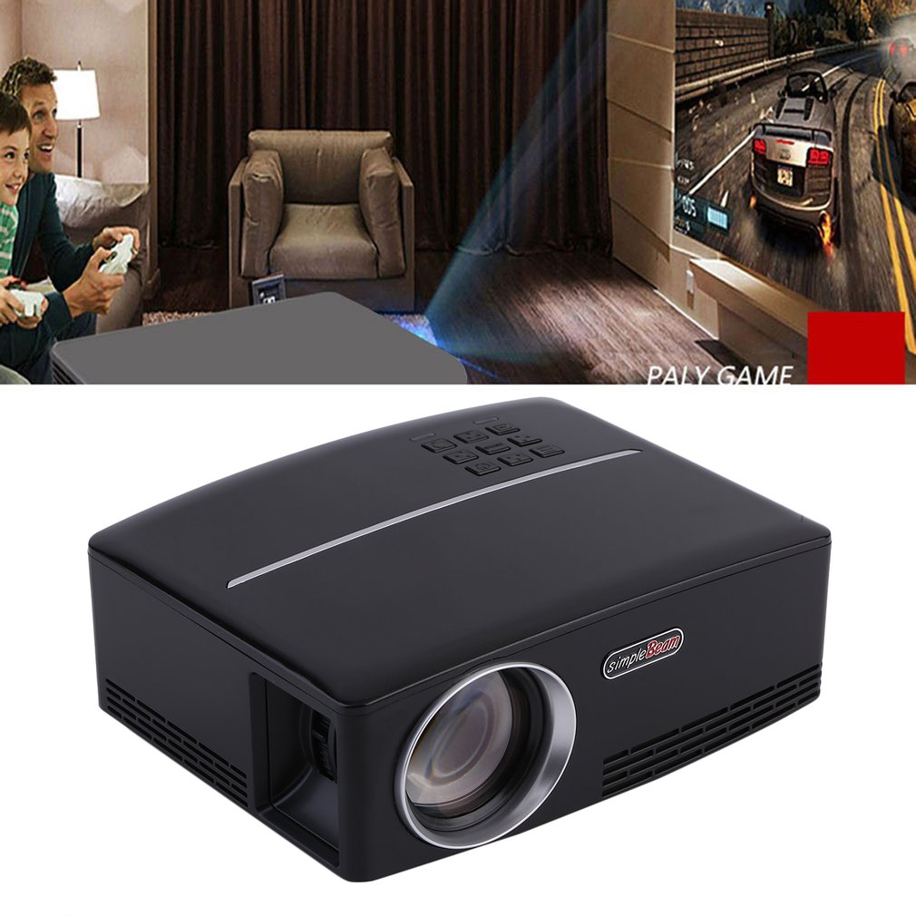 HD 1080P LED Projector for movies 1800 LM Contrast Ratio 2200:1 Full TV Home Theater Support LCD Display US Plug GP80 on sale,black