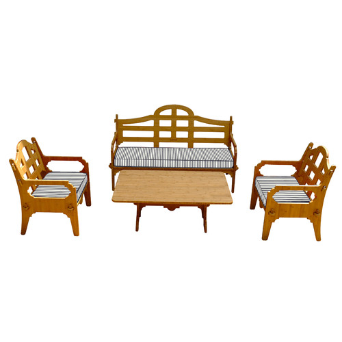 Wedgewood Furniture Palladian Striped 7 Piece Lounge Seating Group with Cushions