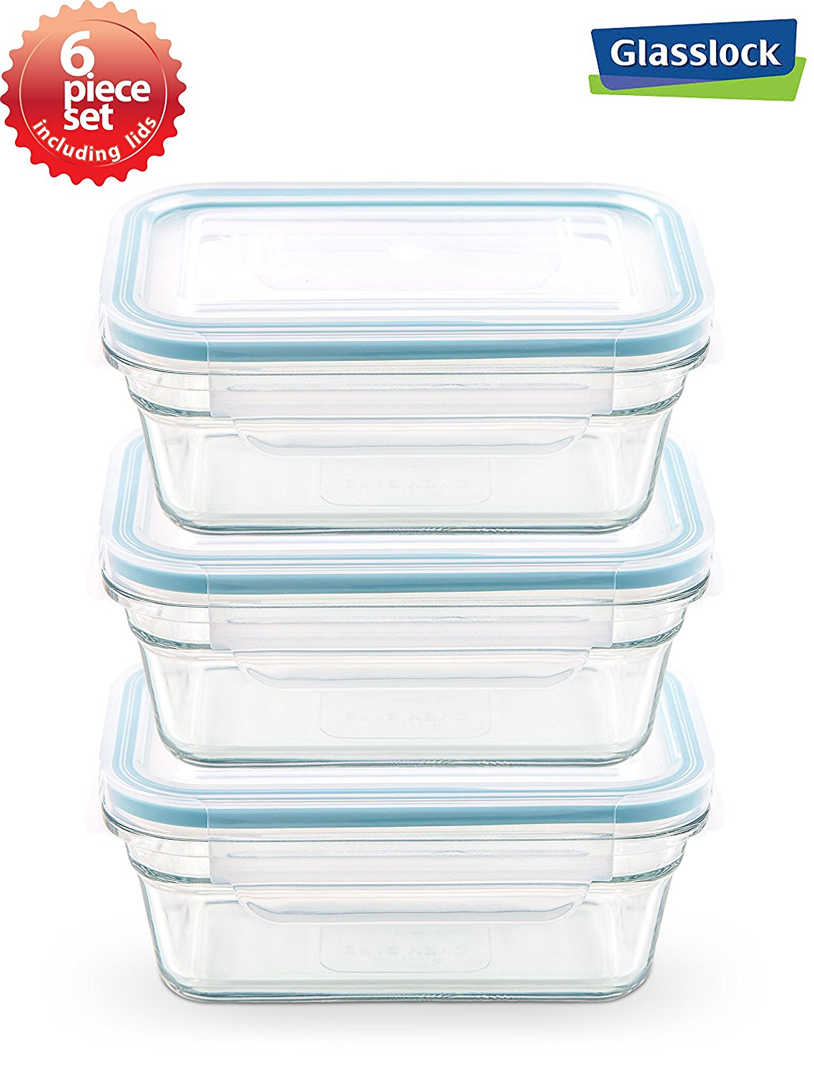 Glasslock Anti Spill Airtight Oven Safe Rectangular Food Storage Container  6 Piece Set (6.3cups