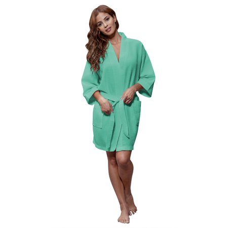 Pink Sateen Cotton Robe - Turquaz Linen Lightweight Knee Length Waffle Kimono Bridesmaids Spa Robe (Small/Medium, Aqua)