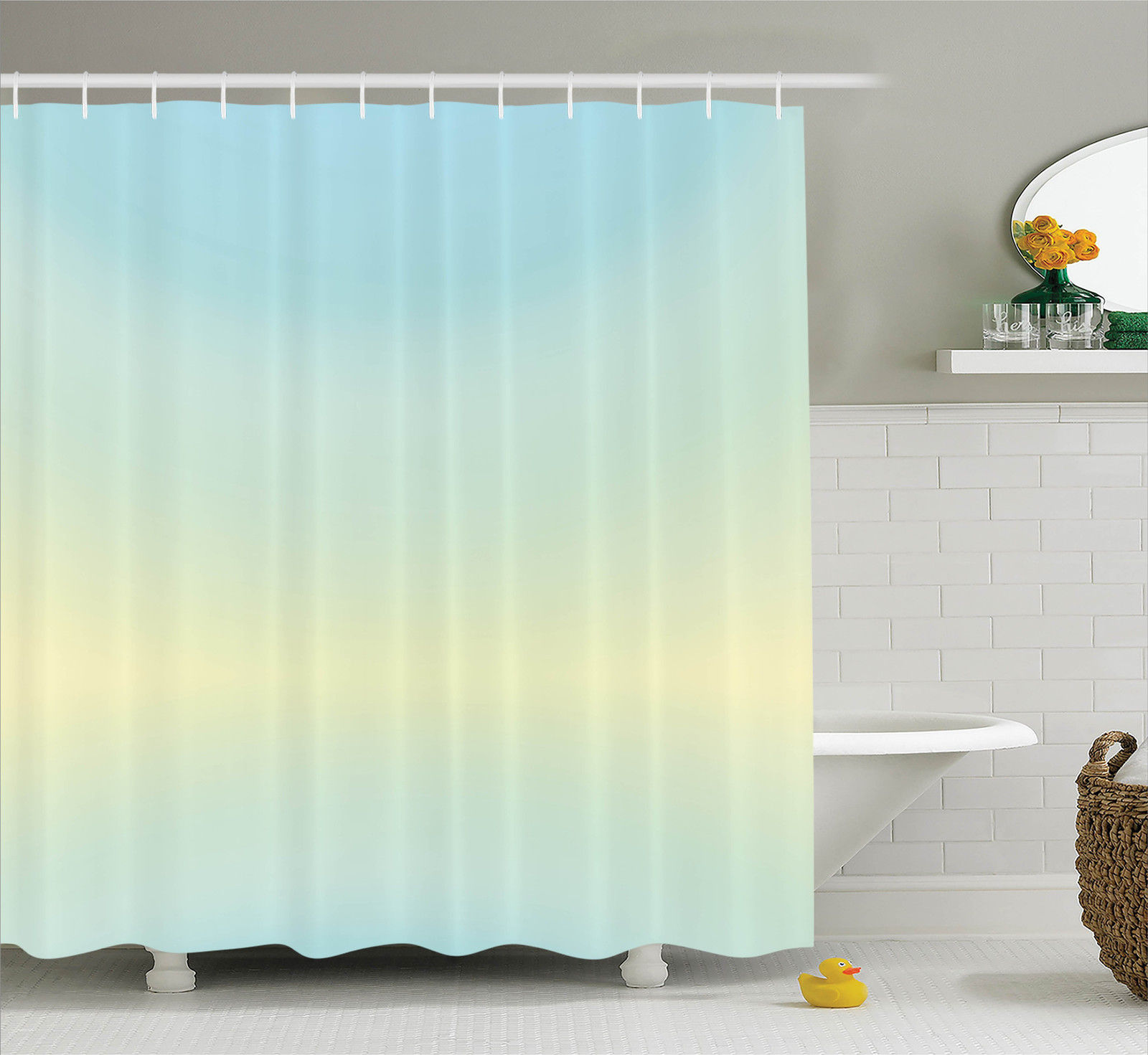 Teal Decor  Defocused Abstract Design Bright Center Blurred Light Color Decorating Artwork, Bathroom Accessories, 69W X 84L Inches Extra Long, By Ambesonne