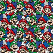 Springs Creative Super Mario Luigi & Mario Packed 100% Cotton Fabric by The Yard