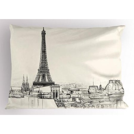 City Love Pillow Sham Sketch Style Image of Paris City over Roofs with Eiffel Tower Landmark, Decorative Standard Size Printed Pillowcase, 26 X 20 Inches, Eggshell and Black, by Ambesonne - Paris City Size