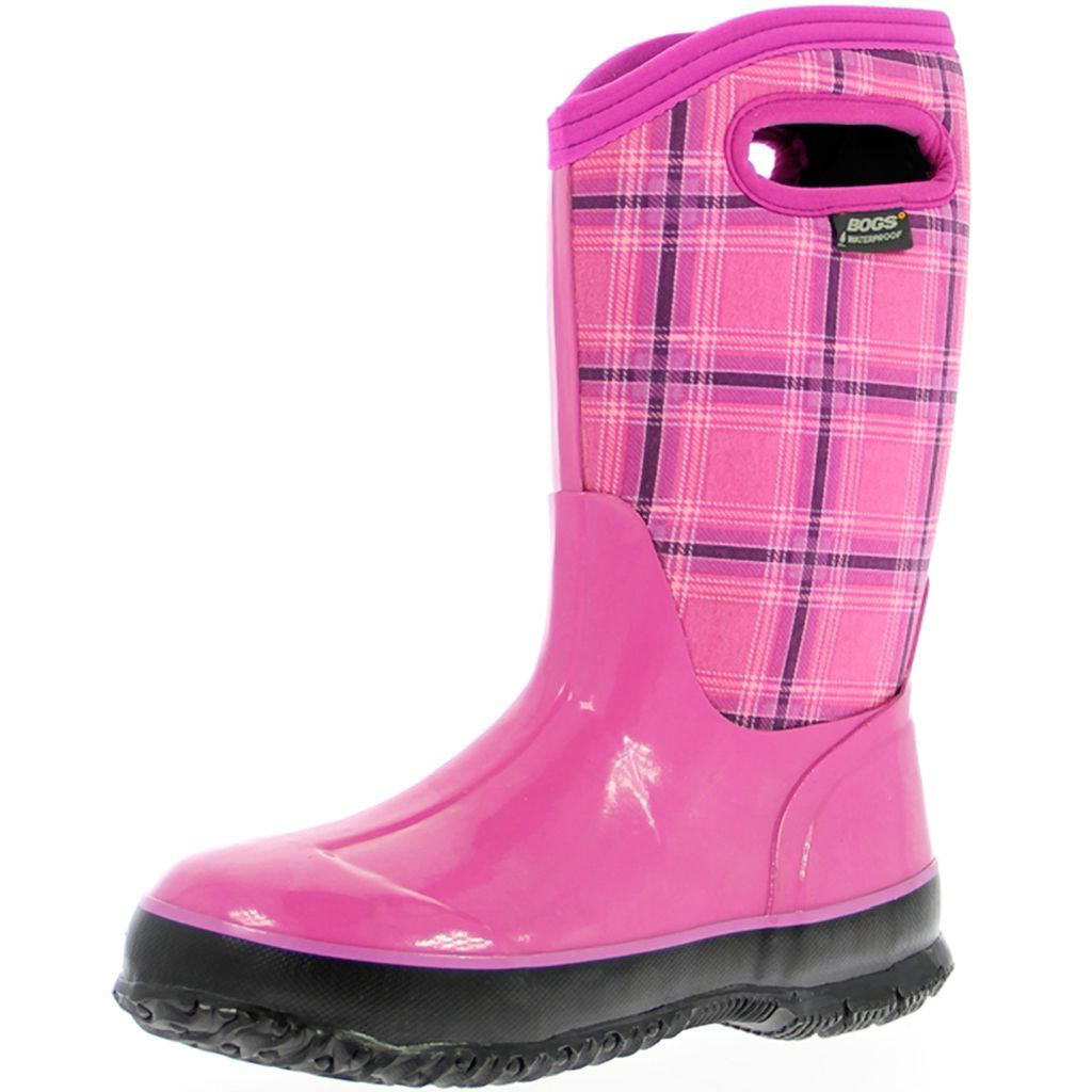 "Bogs Boots Girls Kid 10"" Winter Plaid Waterproof Insulated 71544A"