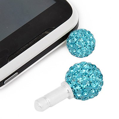 Light Blue Swarovski Crystal Ball Phone Charm. Fits With iPhones, Galaxy And Many More Cellphones.