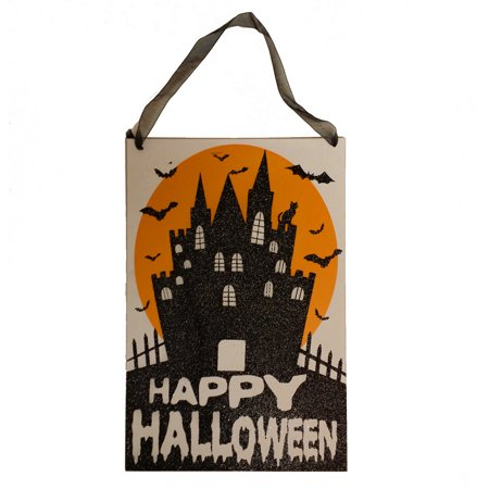 Wooden Halloween Decorations (Halloween Wooden Glitter Mansion 10.5