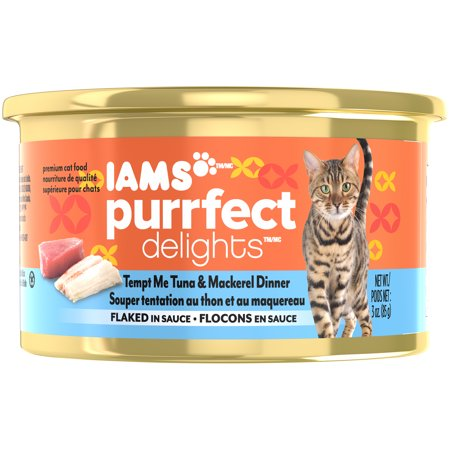 (IAMS PURRFECT DELIGHTS Flaked in Sauce Tempt Me Tuna & Mackerel Canned Cat Food 3 oz. (Pack of 24))