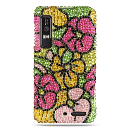 DreamWireless Hawaii Flower Rhinestone Diamond Bling Hard Snap-in Case Cover For Motorola Droid 3, Colorful