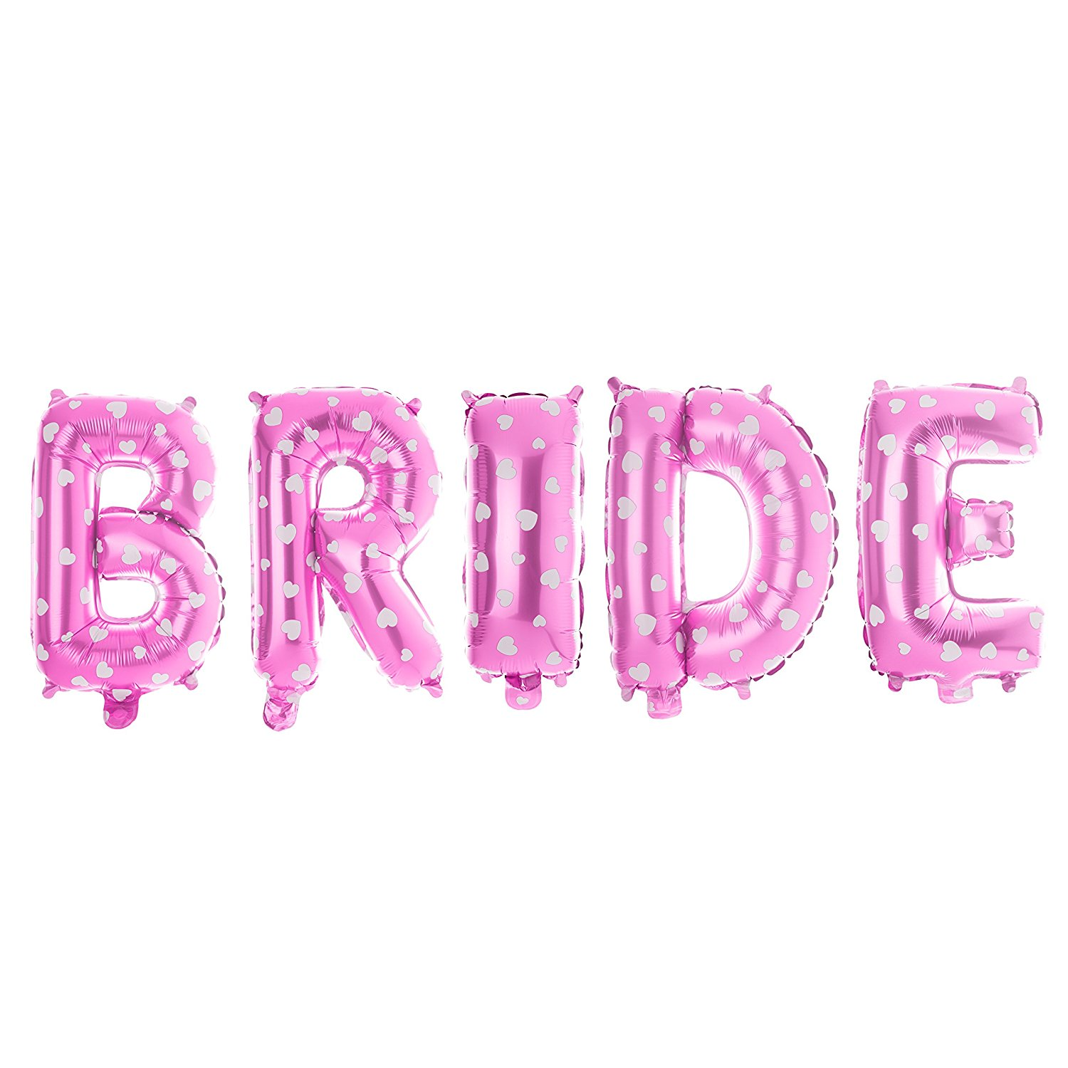 Non-Floating Bride Letter Balloons Bridal Shower Bachelorette Party Decorations Small 13 Inch (Pink with Hearts)