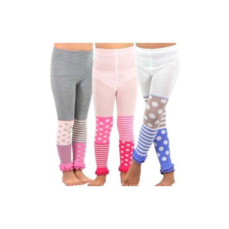 TeeHee Kids Girls Leggings(Footless Tights) with Ruffle Bottom 3 Pair Pack