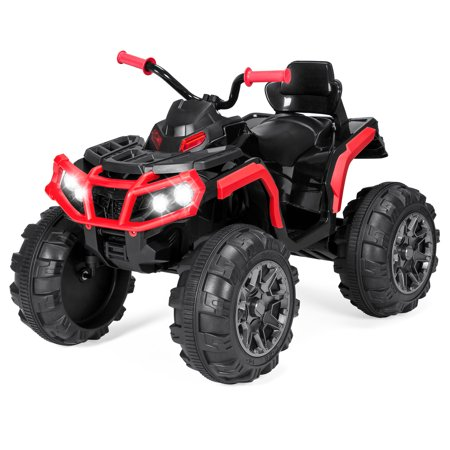 Ford Electric Vehicles - Best Choice Products 12V Kids Battery Powered Electric Rugged 4-Wheeler ATV Quad Ride-On Car Vehicle Toy w/ 3.7mph Max Speed, Reverse Function, Treaded Tires, LED Headlights, AUX Jack, Radio - Red