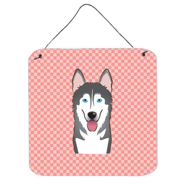 Checkerboard Pink Alaskan Malamute Aluminum Metal Wall Or Door Hanging Prints, 6 x 6 In.