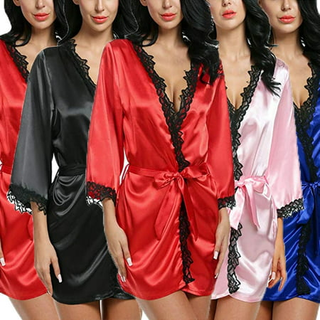 New hOT Women Plain Silk Satin Robes Bridal Wedding Bridesmaid Bride Gown Kimono Robe (Waffle Robes For Bridesmaids)