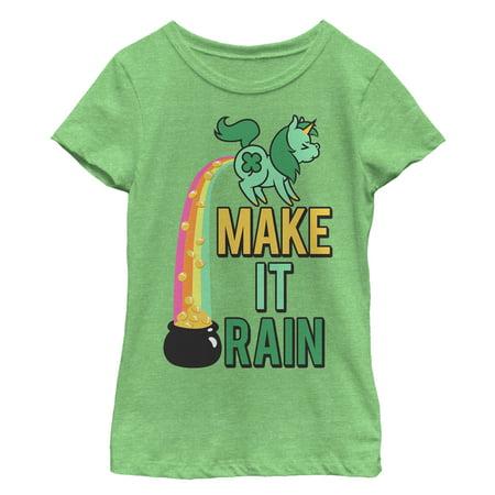 befddbb9 Lost Gods - Girls' St. Patrick's Day Make It Rain Unicorn T-Shirt -  Walmart.com