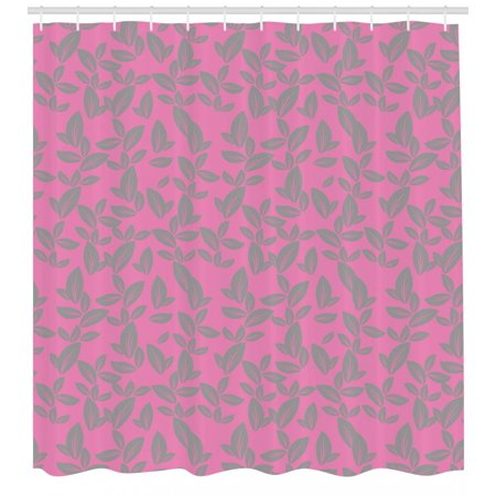 Floral Shower Curtain Big Grey Flower Petals On Pink Background Falling Leaves Natural Theme Artwork Fabric Bathroom Set With Hooks And