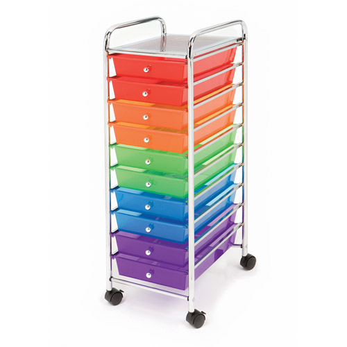 Seville Classics 10 Color Drawer Organizer Rolling Cart, SHE16218B