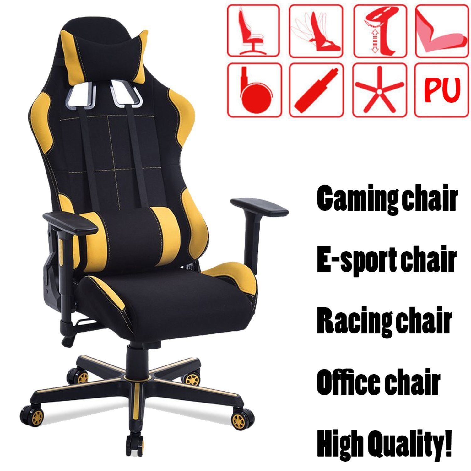 Deluxe Ergonomic Racing Style PU Leather Gaming Office Chair Swivel High Back Computer Chair on Sale Yellow