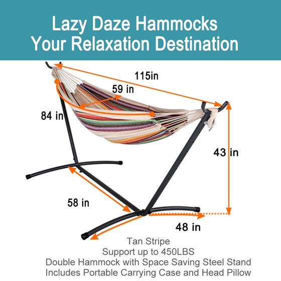 Lazy Daze Hammocks Double Hammock with 9FT Space Saving Steel Stand  Includes Portable Carrying Case, 450 Pounds Capacity, Desert Stripe