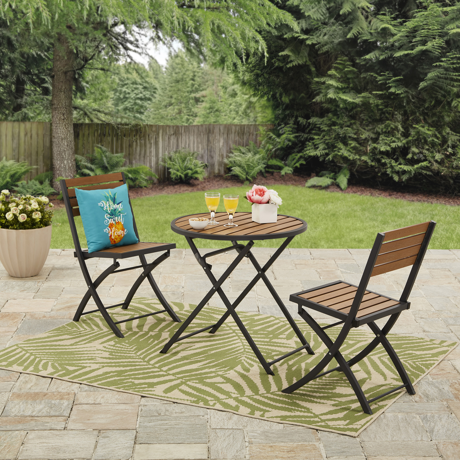 Mainstays Calie Bay Folding Faux Wood 3PC Bistro Set