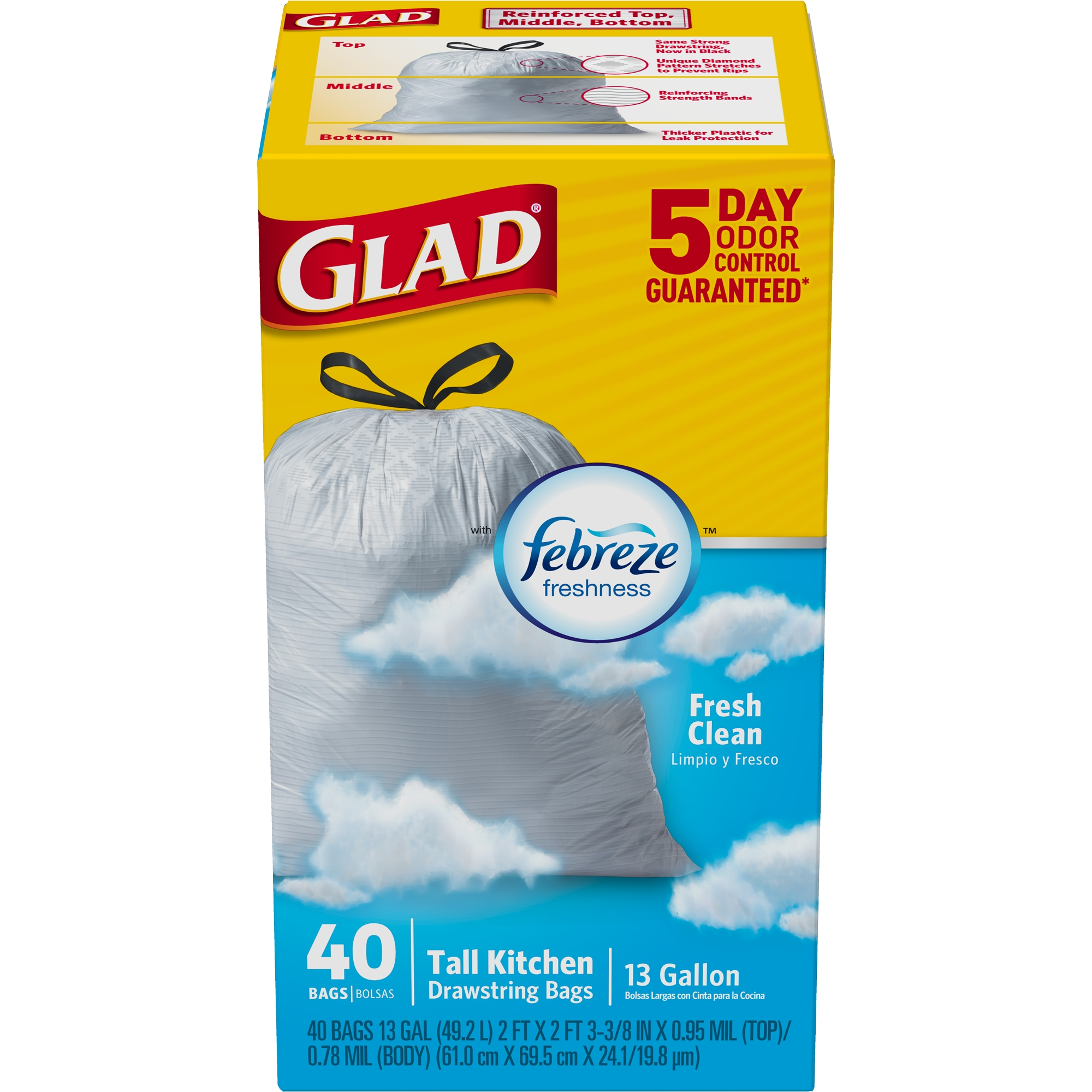 Glad OdorShield Tall Kitchen Drawstring Trash Bags, Fresh Clean, 13 Gallon, 40 Count