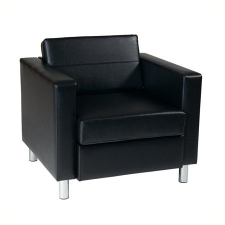 Pemberly Row Leather Club Barrel Chair in Black
