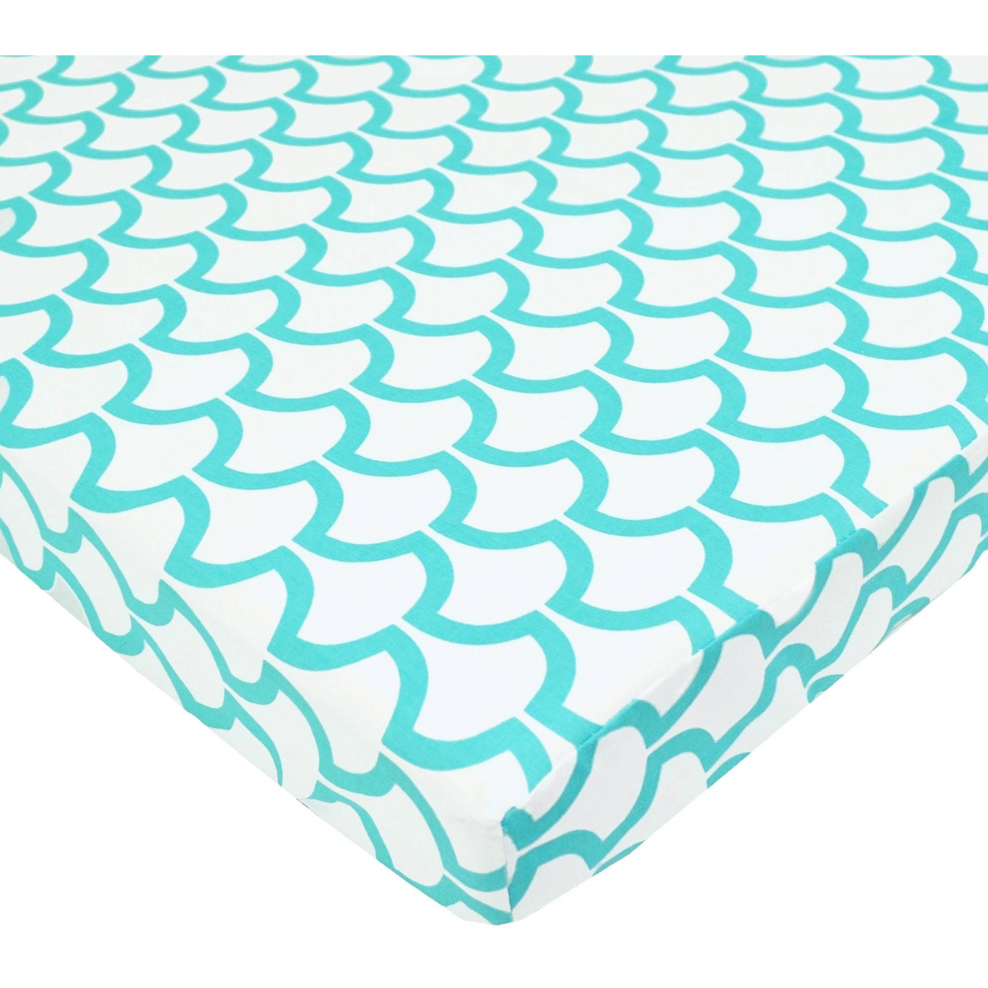 TL Care Cotton Percale Fitted Mini Crib Sheet, Aqua Sea Wave