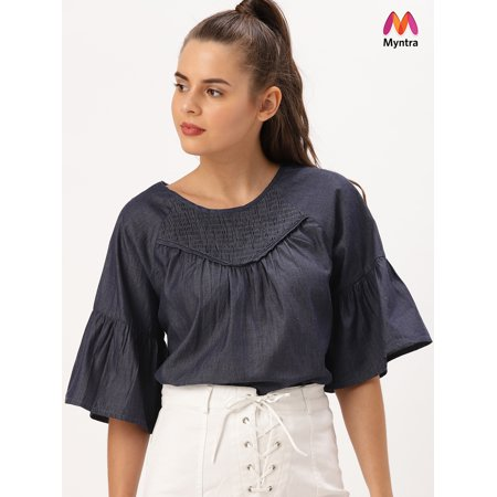 DressBerry Women Navy Blue Solid Top - image 1 of 1