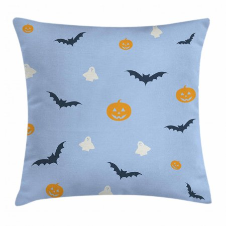 Ghost Throw Pillow Cushion Cover, Happy Halloween Holiday Graphic Pumpkins Flying Bats and White Ghosts Scare Theme, Decorative Square Accent Pillow Case, 24 X 24 Inches, Multicolor, by - Al Happy Halloween Theme