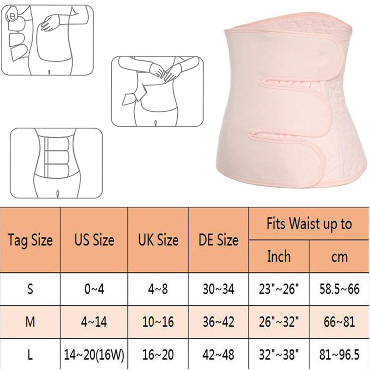 Ladies Firm Control Waist Clincher Belly Band Pregnancy Recovery UK 8-20 052