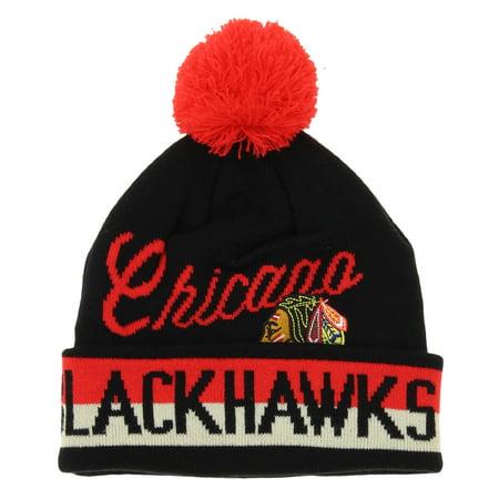 super popular c236a acc9f CCM NHL Youth Chicago Blackhawks Knit Cuff Pom Beanie, Black - Walmart.com