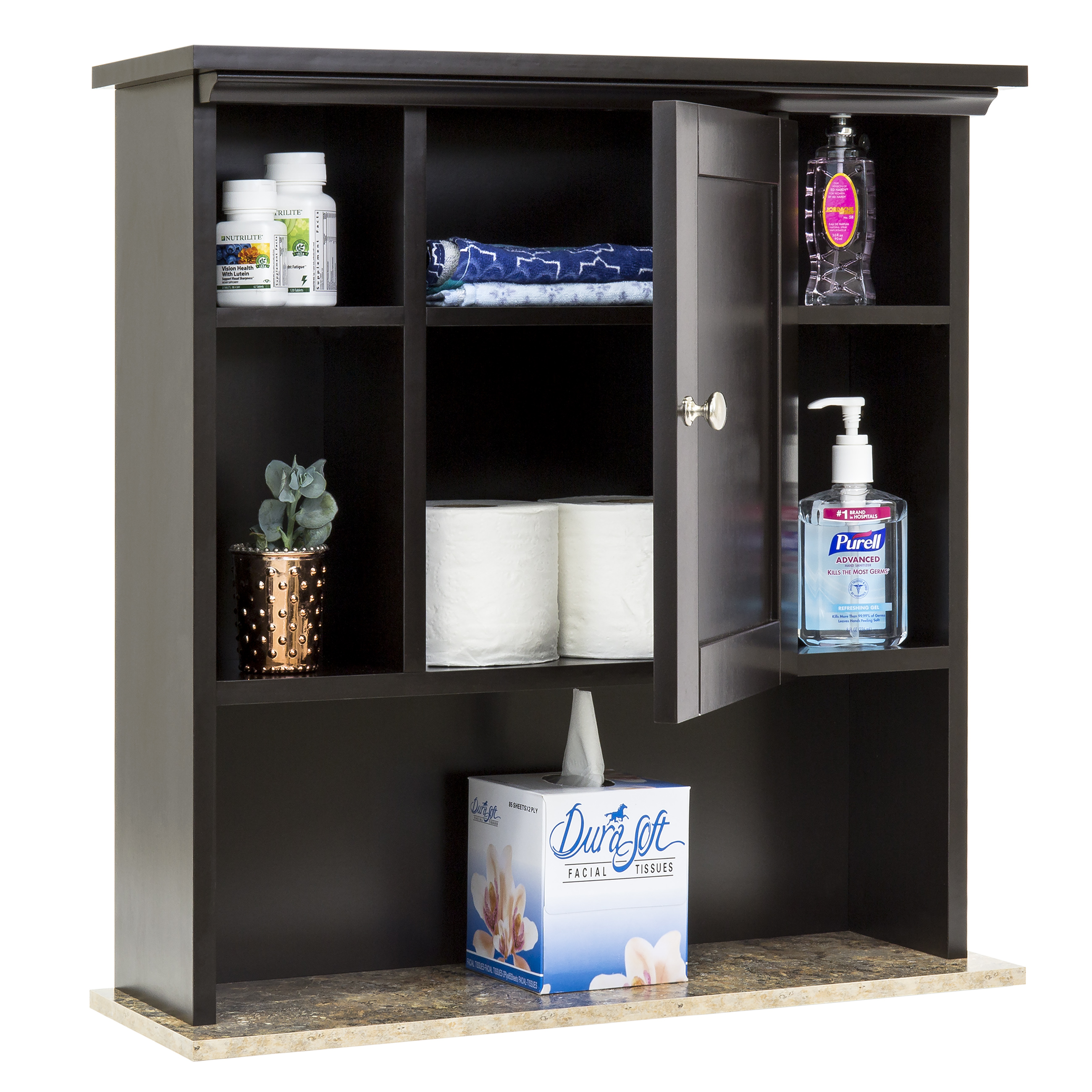 Best Choice Products Bathroom Wall Storage Cabinet W/ Faux Granite  (Espresso)