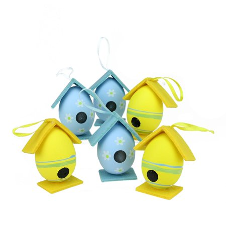 Set of 6 Yellow and Blue Decorative Floral Painted Design Spring Easter Egg Birdhouse Ornaments 3