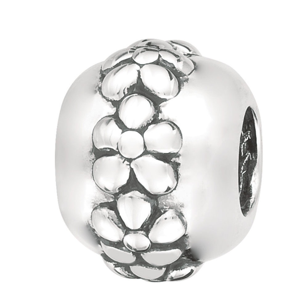 Sterling Silver Flower Band Bead, For Chamilia, Biagi, Personality, Reflections