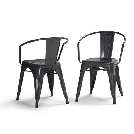 International Silver Century House (WyndenHall  Elisse Mid Century Metal Dining Arm Chair (Set of)