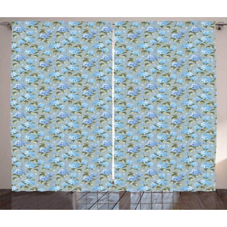 Garden Curtains 2 Panels Set, Botanical Blue Hydrangea Flowers on Polka Dot Background Feminine Design, Window Drapes for Living Room Bedroom, 108W X 84L Inches, Blue Grey Sage Green, by Ambesonne