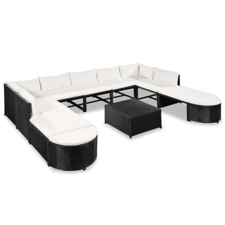 vidaXL 12 Piece Garden Lounge Set with Cushions Poly Rattan Black ()