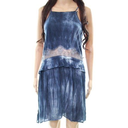 TopShop NEW Blue Womens Size 4 Eyelash Lace Trim Tie-Dye Shift Dress
