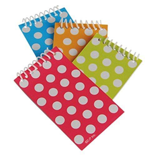 US Toy - Polka Dot Themed Mini Spiral Notebook Memo Pads, Asstd Color, Dozen