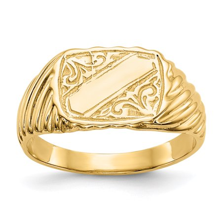 14k Yellow Gold Baby Rectangle Signet Stripes Band Ring Size 2.50 Gifts For Women For Her
