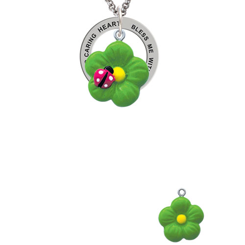 Resin Lime Green Daisy Flower with Hot Pink Ladybug Bless Me with a Healing Hand Affirmation Ring Necklace