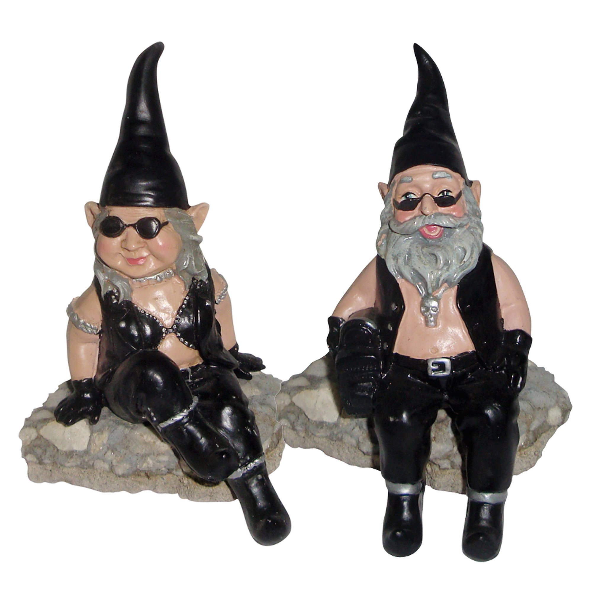 """Nowaday Gnomes """"Biker Dude & Babe"""" the 6""""H Shelf Sitters Biker Gnome in... by GSI Homestyles"""
