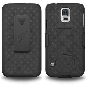 Premium Shell Holster Combo Slim Shell Case Built in Kickstand + Swivel Belt Clip Holster for Samsung GALAXY S5 SM-G900, Samsung Galaxy S5 Neo SM-G903F - Black