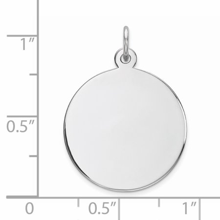 SS Rh-plt Engraveable Round Polished Front/Satin Back Disc Charm QM372/27 (26mm x 20mm) - image 1 of 2