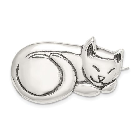 Sterling Silver Antiqued Sleeping Cat Pin Solid Sterling Silver Cat Pin