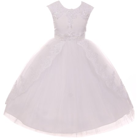 Little Girls Dress Lace Tulle Holy First Communion Wedding Flower Girl Dress White Size 4  (K70D08) - First Holy Communion Dress
