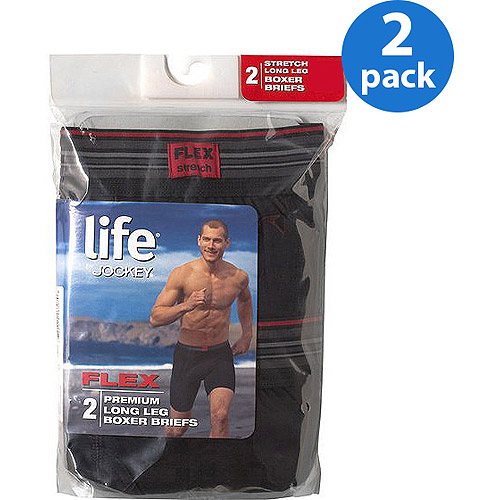 Life by Jockey Men's Long Leg Boxer Briefs, Black, 2-Pack