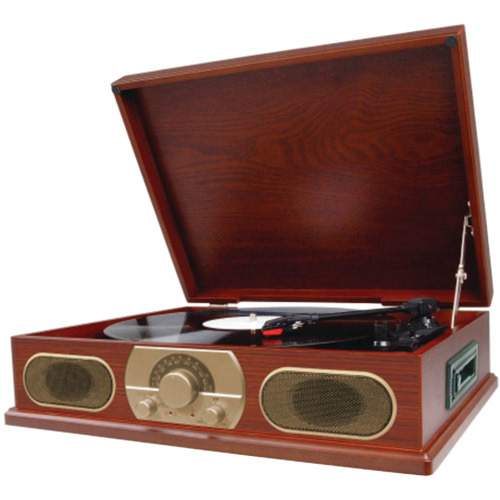 Studebaker SB6052 Wooden Turntable with AM/FM Radio and Cassette Player