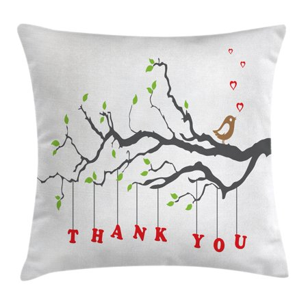 Nature Decor Throw Pillow Cushion Cover, Thank You Quote Hangs From a Branch with Leaves an Bubble Hearts Art, Decorative Square Accent Pillow Case, 16 X 16 Inches, Black Green and Red, by Ambesonne for $<!---->